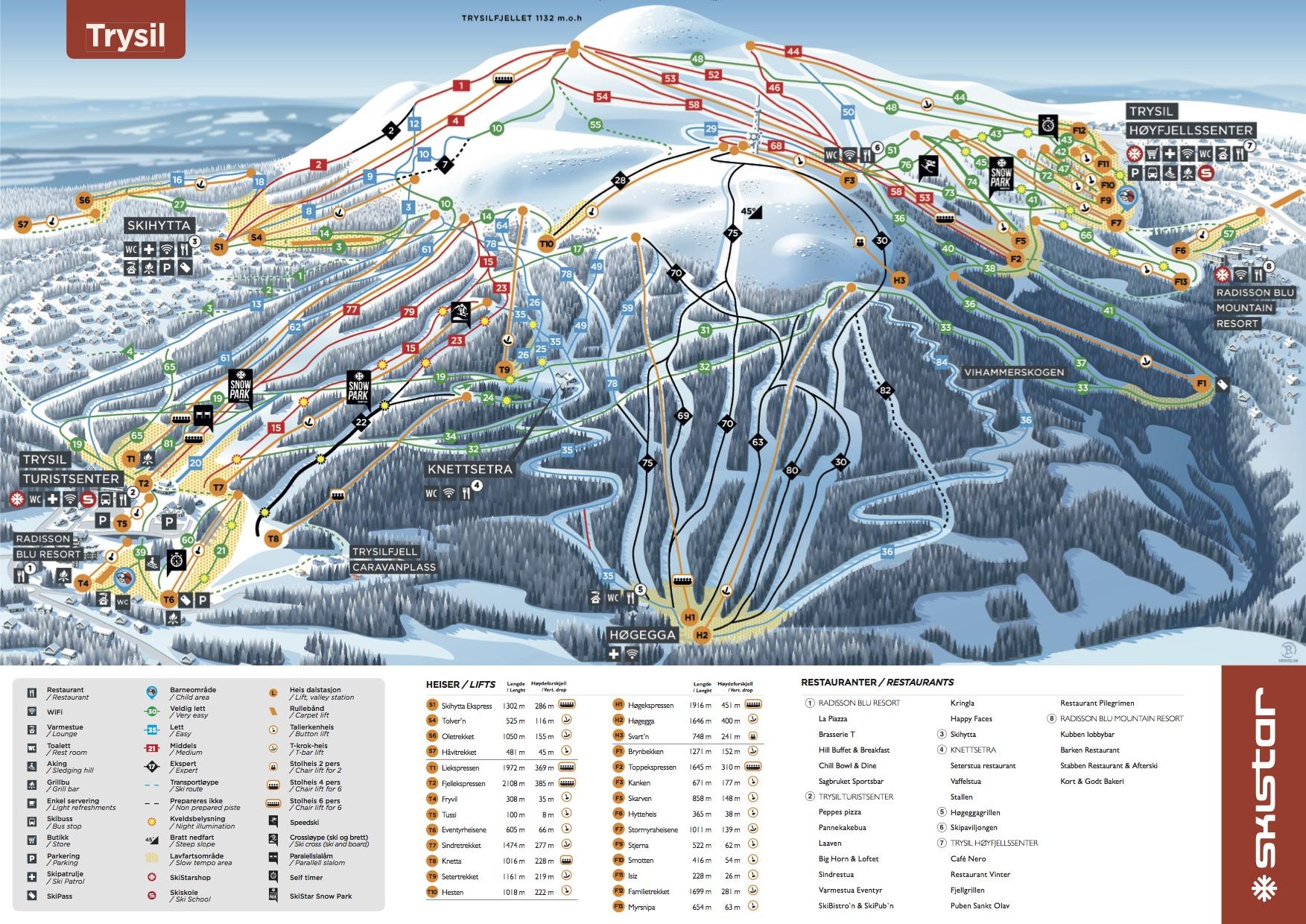 Trysil雪道地图