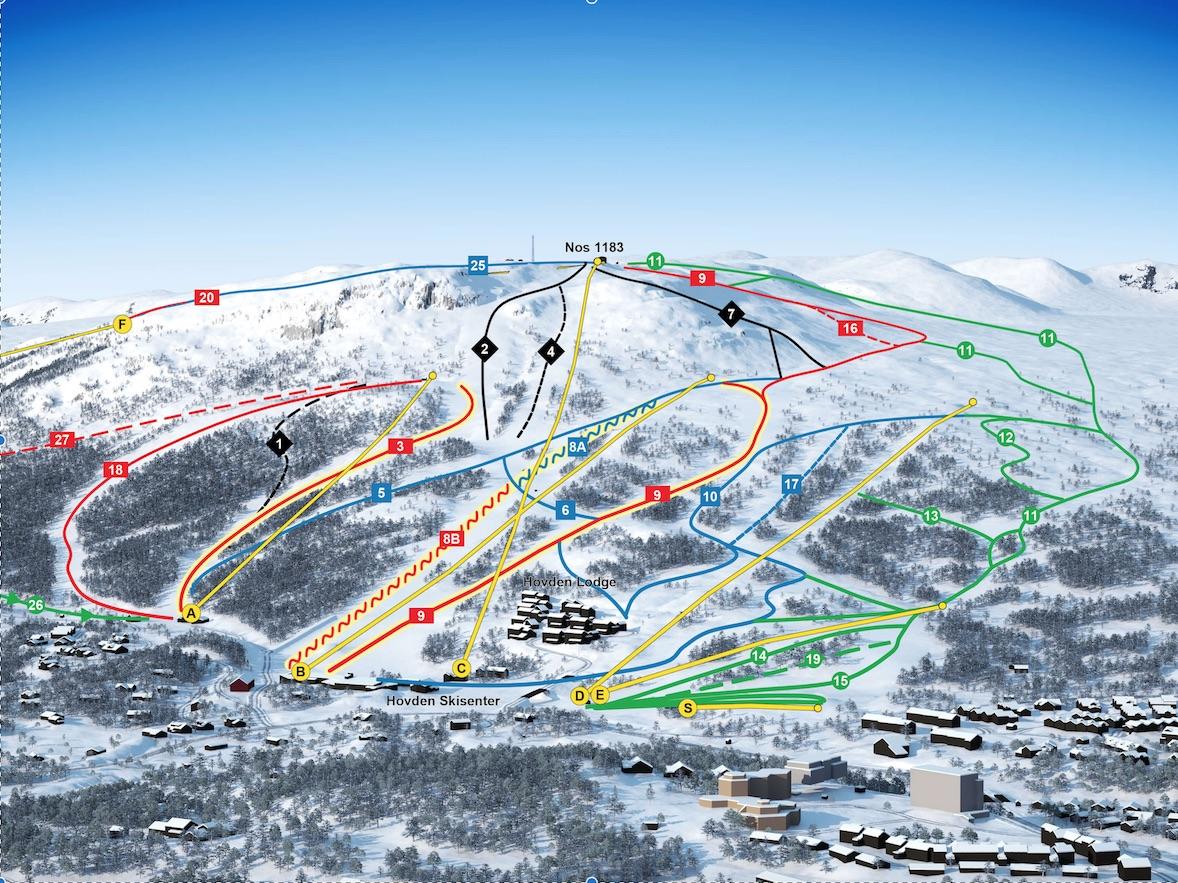 Hovden雪道地图