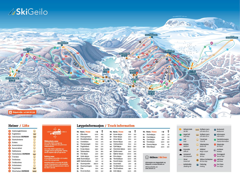 Geilo雪道地图