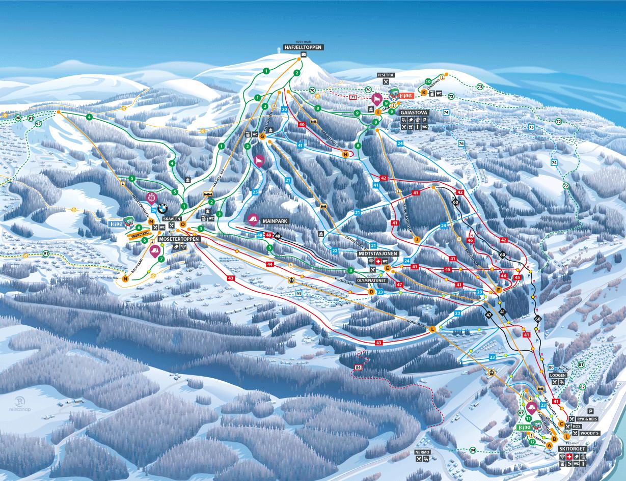 Hafjell雪道地图